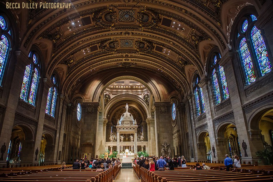 interior of basillica wedding minneapolis
