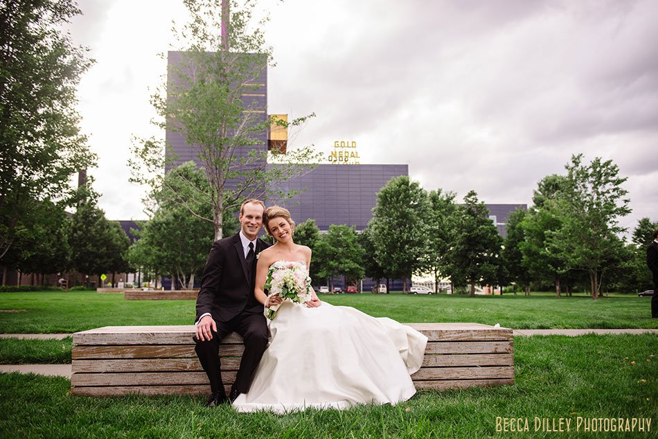 bride and groom at gold medal park minneapolis