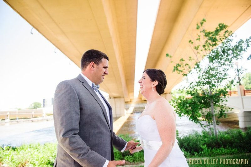 bride and groom see each other for first time at minnesota boat club on raspberry island st paul mn