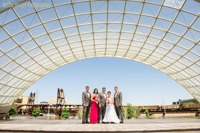 wedding party under the amphitheater at raspberry island st paul mn