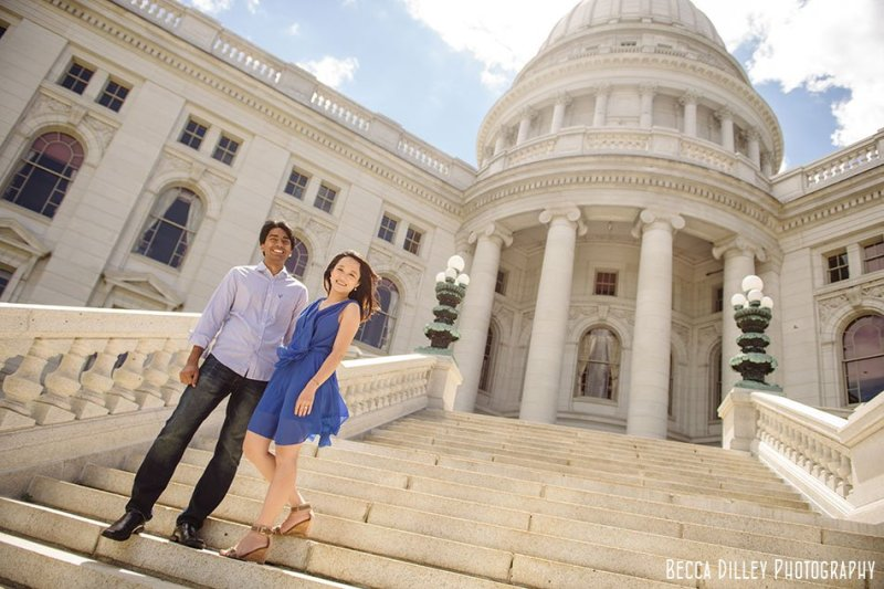 Couple on steps of wisconsin capitol for engagement photos
