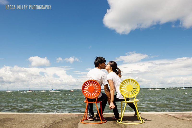 wisconsin terrace chairs with engaged couple