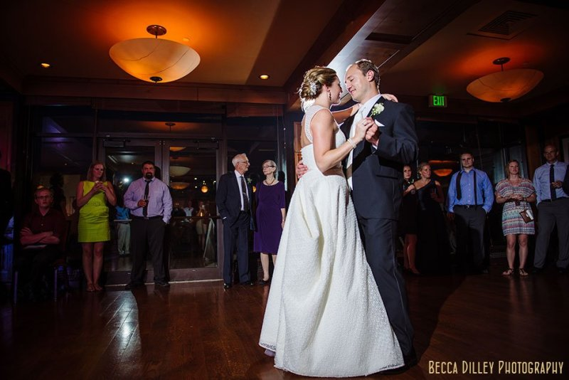 bride and groom first dance at madison club wi