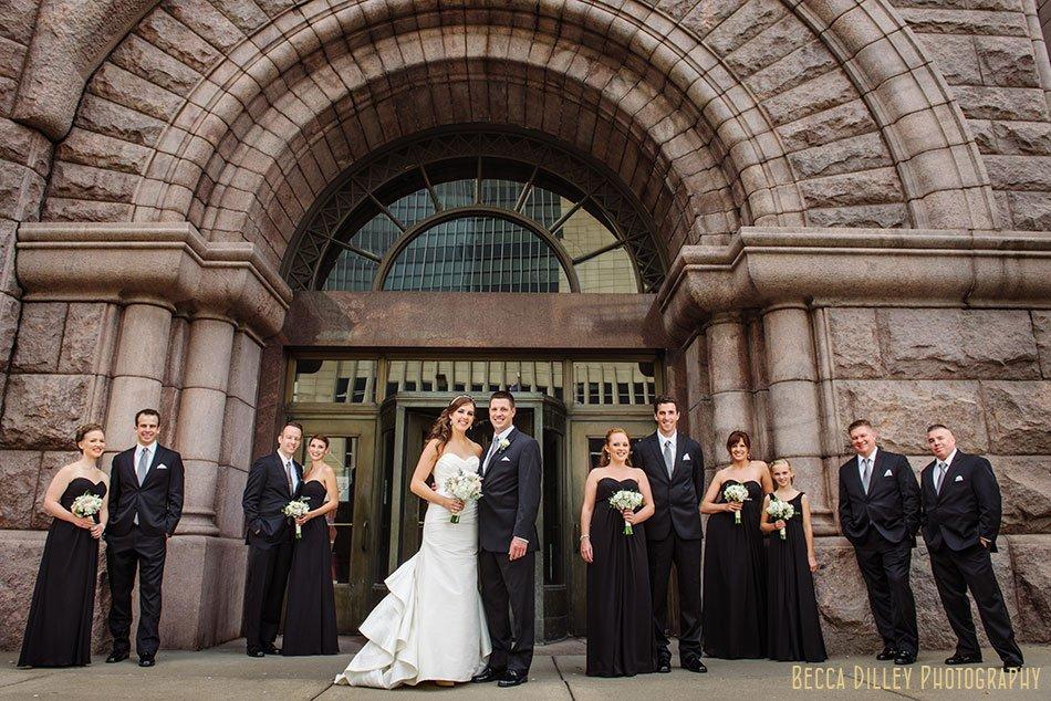 flash composite wedding party minneapolis city hall wedding