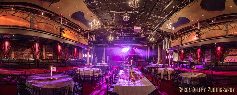 varsity theater wedding reception interior panorama