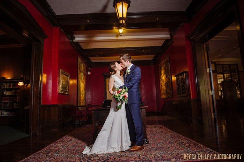 bride and groom in foyer of minneapolis club wedding