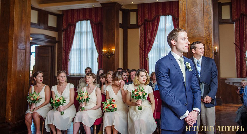 groom waits for bride at ceremony minneapolis club wedding
