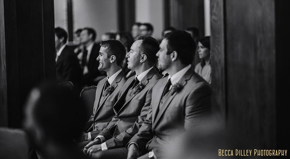groomsmen during ceremony minneapolis club wedding