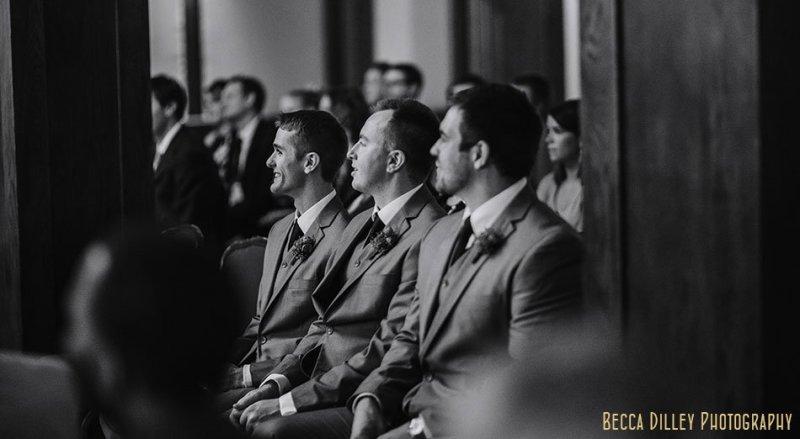 groomsmen during ceremony minneapolis club wedding