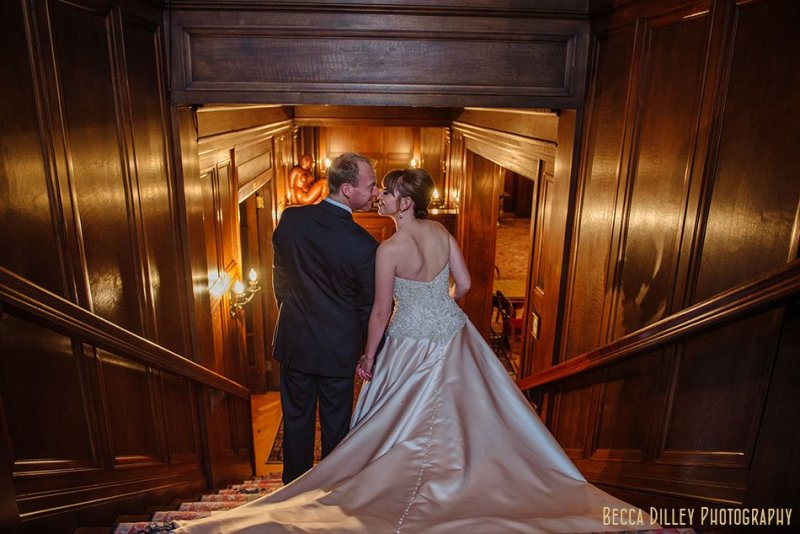 golden wood staircase minneapolis wedding at gale mansion