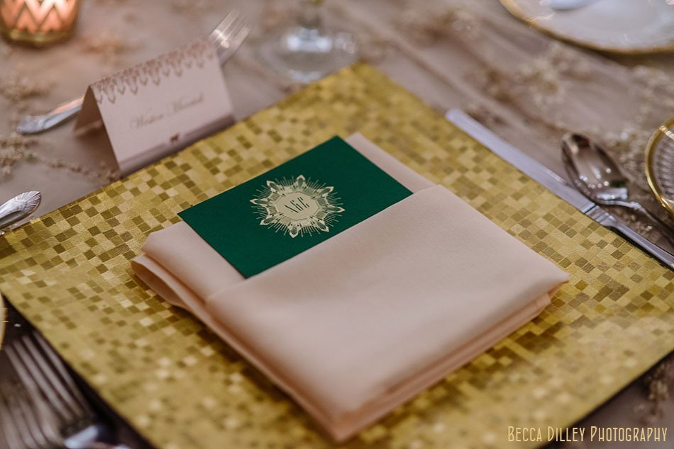 green and gold table menus minneapolis wedding at gale mansion