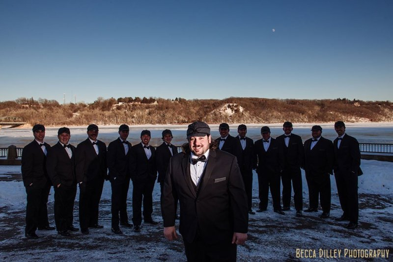 12 groomsmen stillwater mn wedding at studio j winter wedding photographer