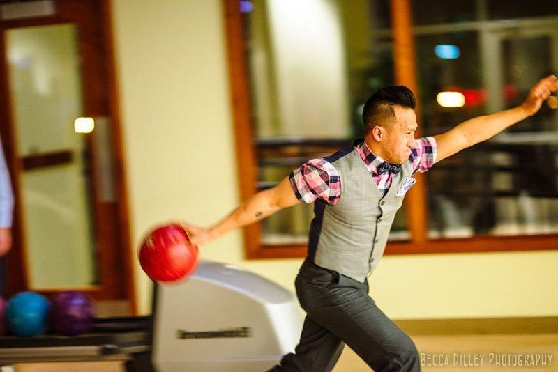 bowling for minneapolis same sex wedding pinstripes mn