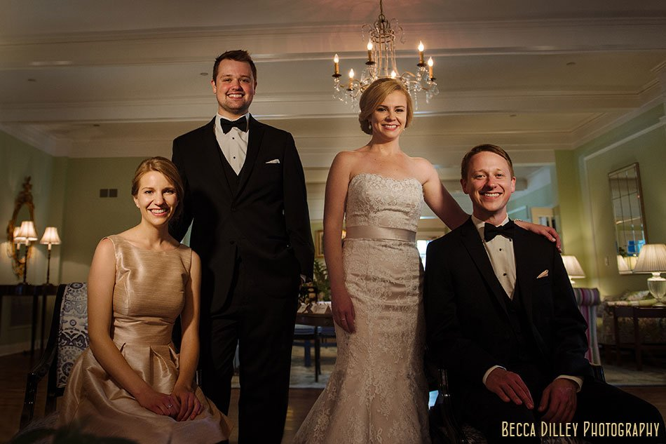 Minikahda Club wedding minneapolis small wedding party in lobby