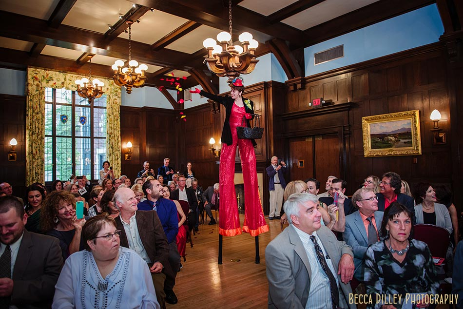 stilt walker flower girl lavish minneapolis club wedding