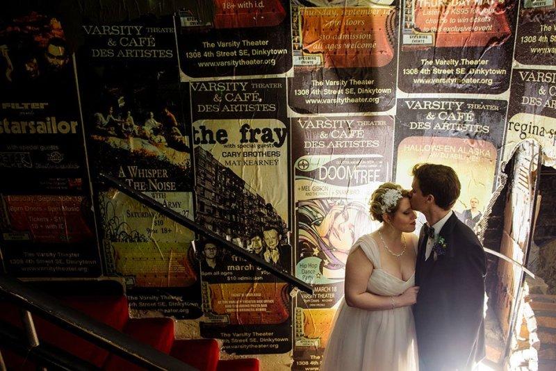 fun minneapolis wedding photographer varsity theater wedding minneapolis mn