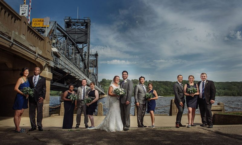 flash composite at liftbridge Stillwater Historic Courthouse Wedding mn