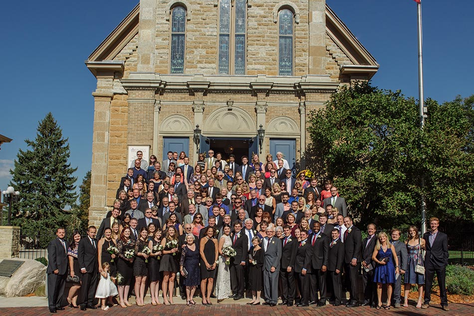 all guests in one photo at Lady of Lordes Wedding Minneapolis