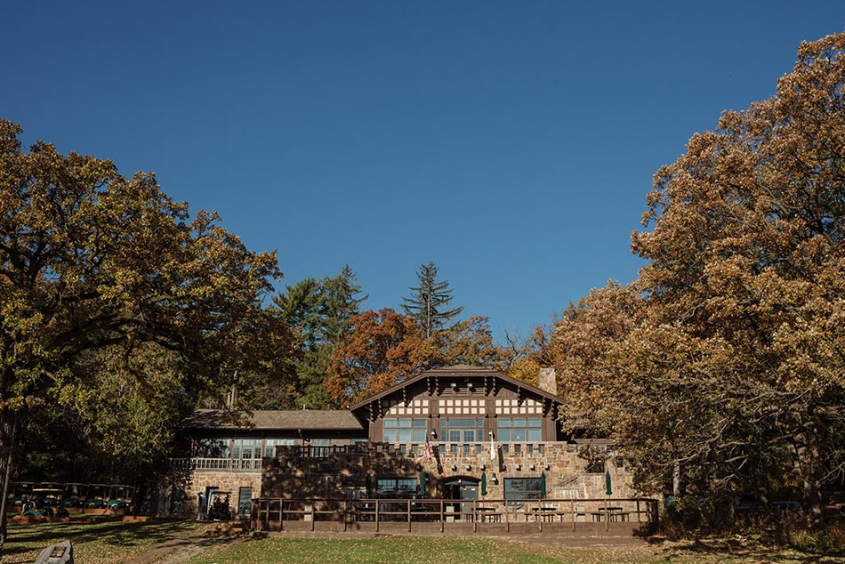 exterior in fall Theodore Wirth Wedding Minneapolis