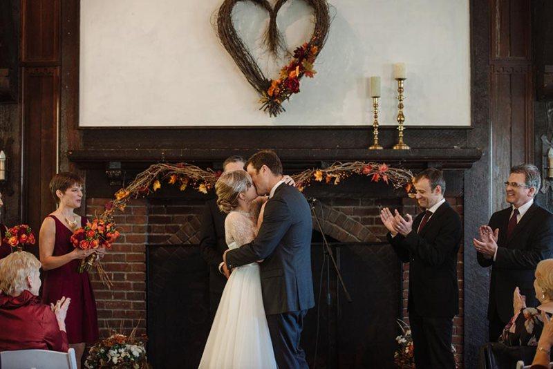 first kiss Theodore Wirth Wedding Minneapolis