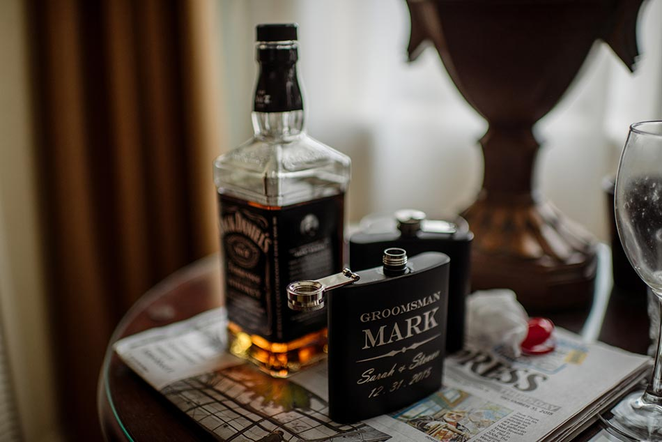groomsmen gifts of flasks St Paul Hotel winter wedding mn