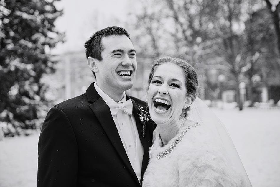 laughter St Paul Hotel winter wedding mn