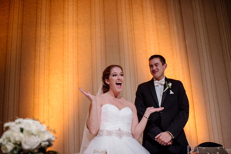 bride and groom speech St Paul Hotel winter wedding mn
