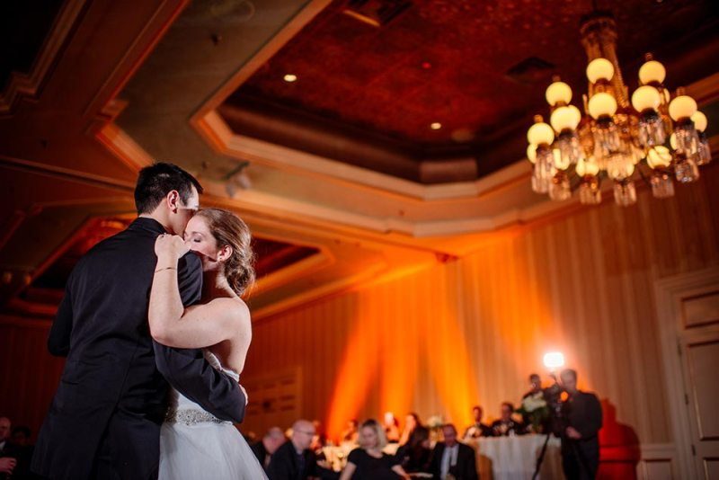 bride and groom dramatic first dance St Paul Hotel winter wedding mn
