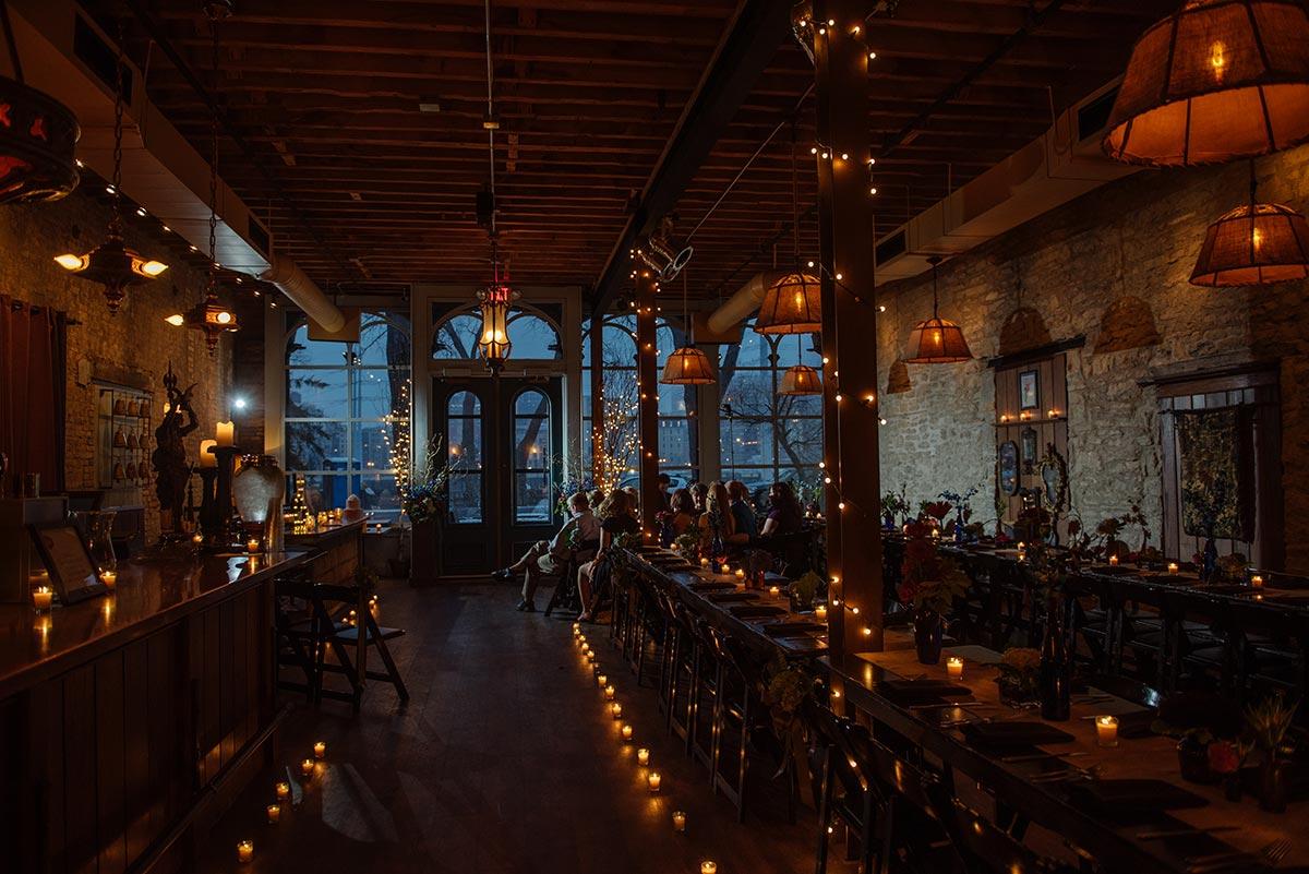 interior Minneapolis winter Aster Cafe Small Wedding