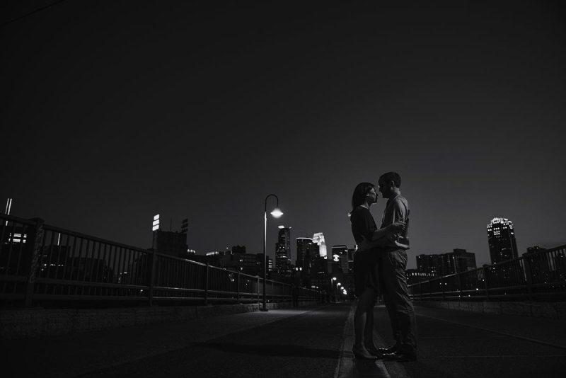 best minneapolis wedding photographer stone arch bridge silhouette