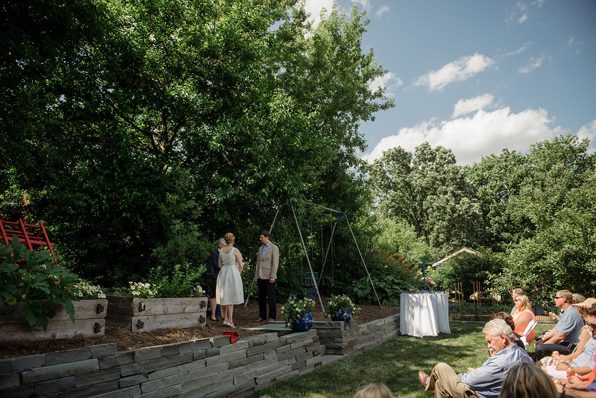 ceremony Twin Cities backyard wedding