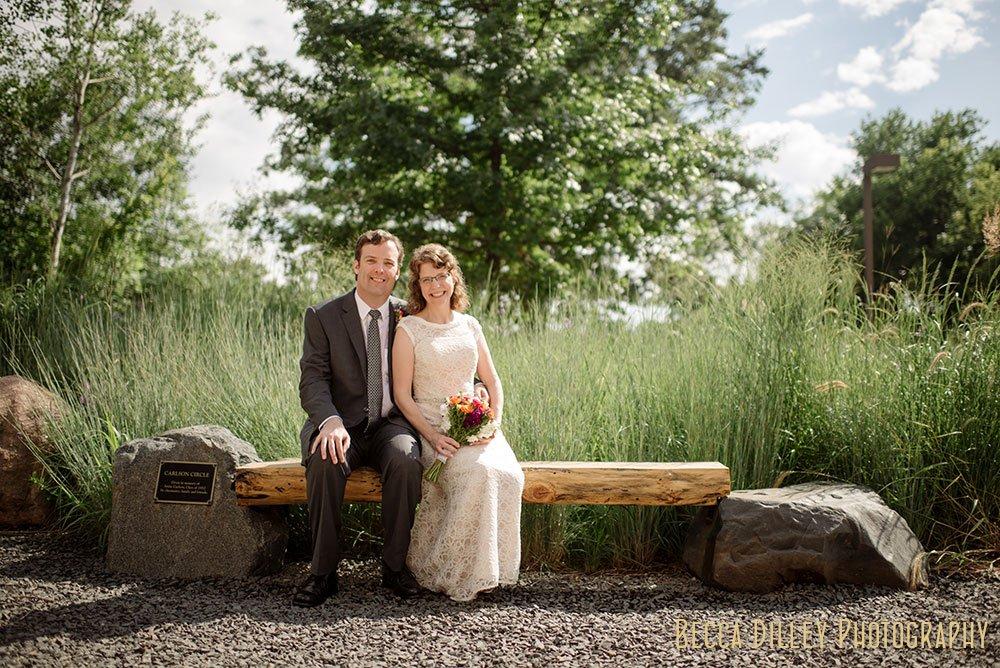 Carleton College Wedding - bride and groom with prairie