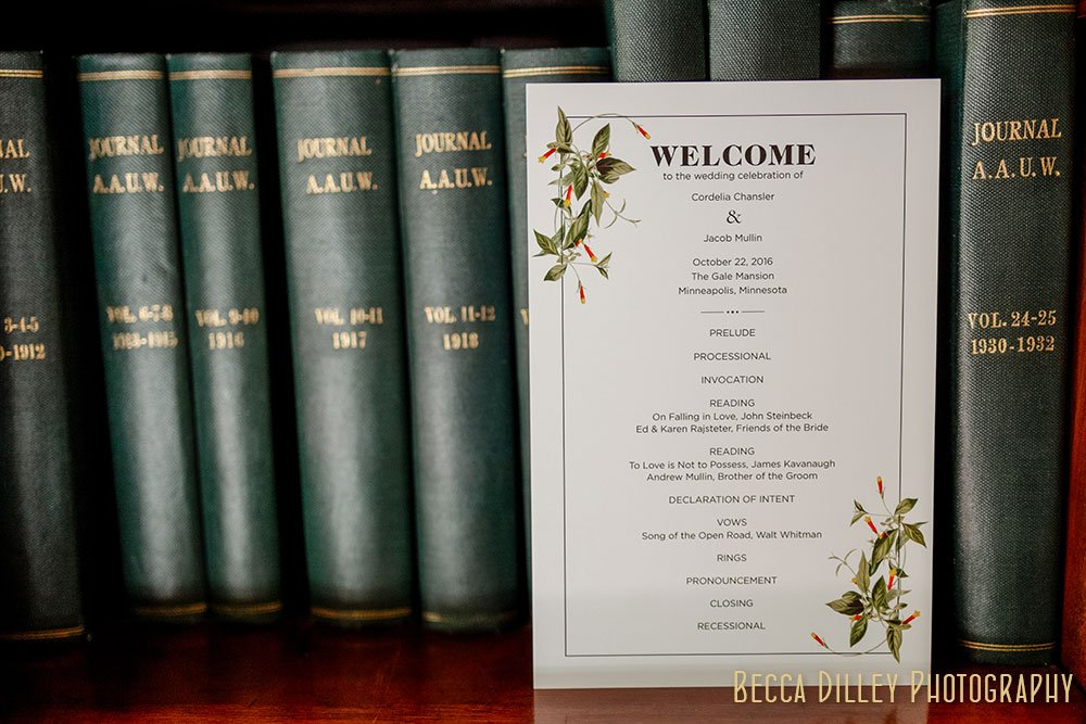 wedding invitation in with library Minneapolis Gale Mansion Wedding