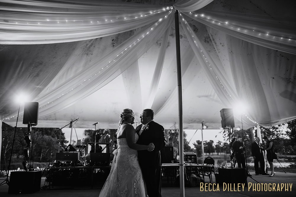 First dance under the tent Majestic Oaks Golf Club Wedding MN