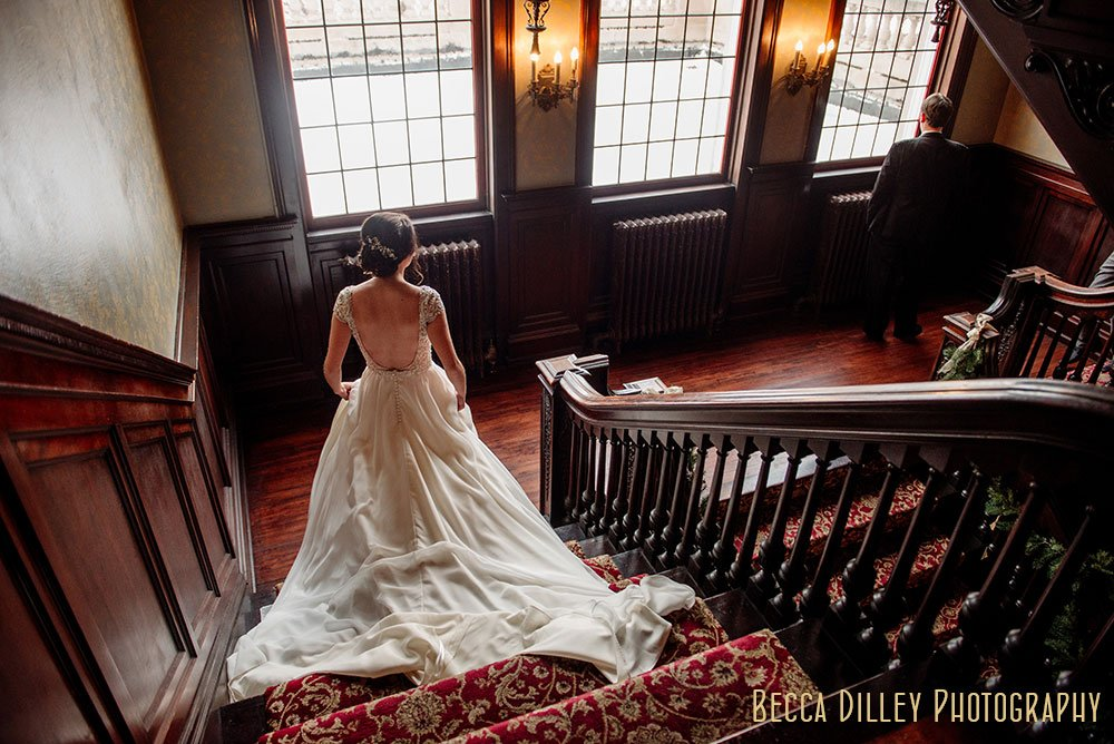 Semple Mansion Wedding Minneapolis coming down stairs for first look