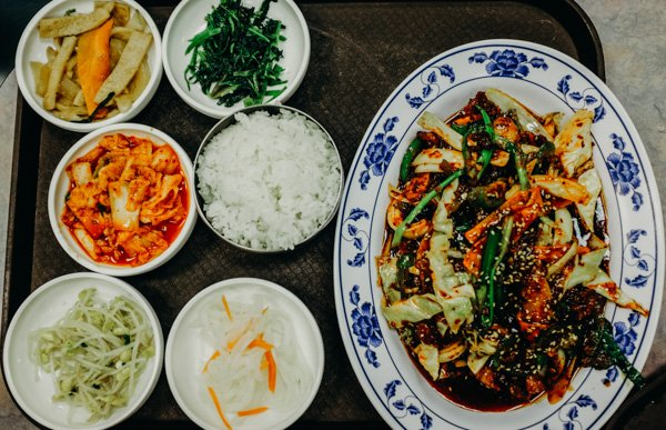 A tray of the best Korean lunch in the twin cities at Dong Yang - where to send your out of town guests for lunch