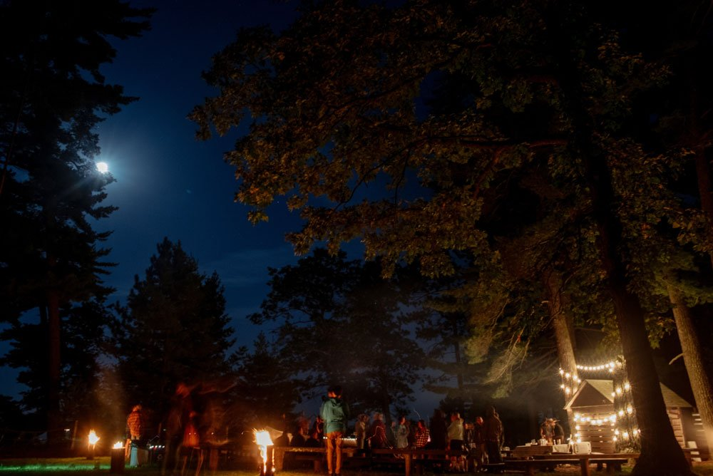 MN camp photography - night by the campfire