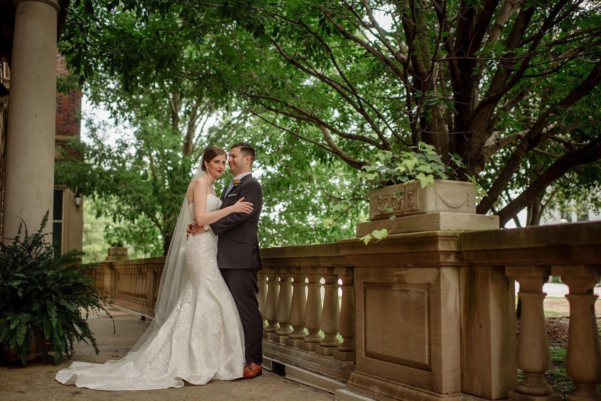 Madison Club Wedding Photography - couple on patio outside club in summer