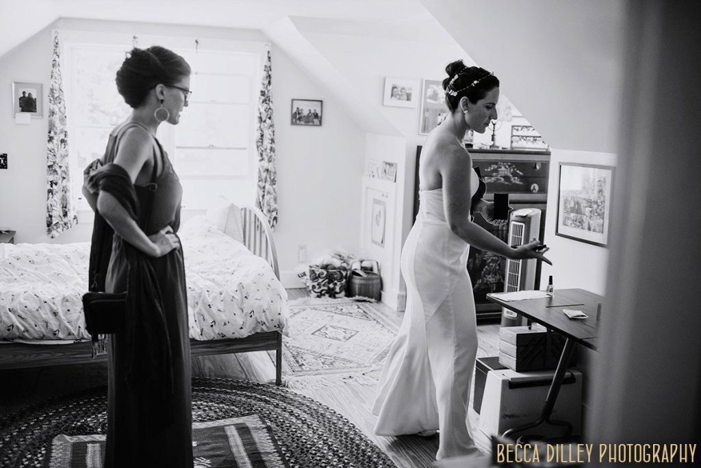 getting ready in childhood home A destination wedding by Acadia National Park in Maine