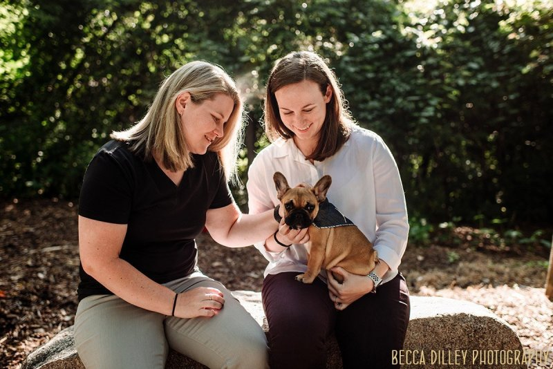 Richardson Nature Center engagement photos same sex couple with puppy