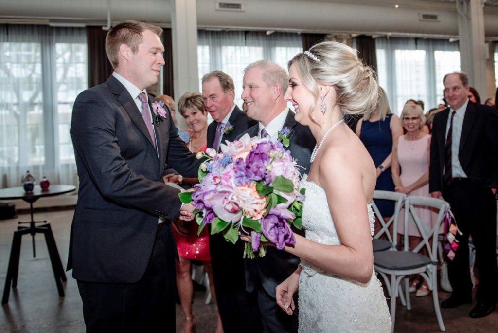 Machine shop wedding dad gives away bride at ceremony