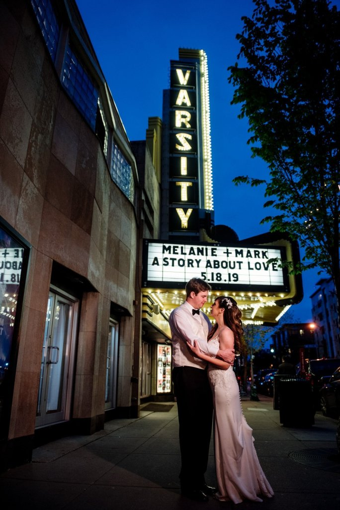 marquee with couple varsity theater wedding minneapolis