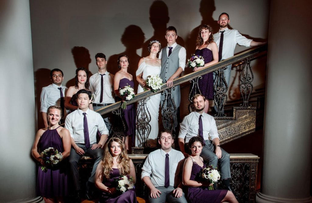 wedding party flash composite at Minneapolis Institute of Art