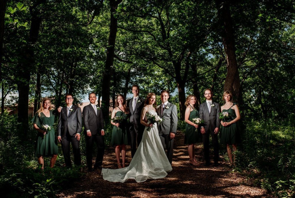 flash composite of wedding party at silverwood park wedding mn