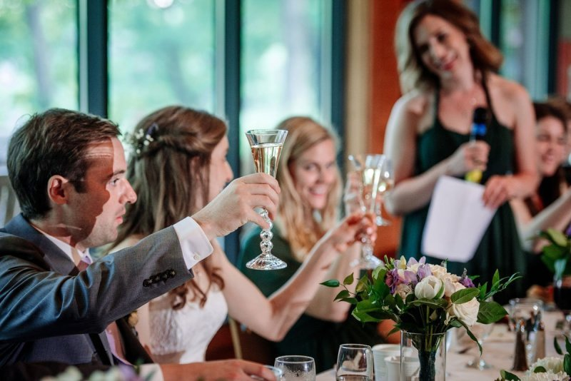 reception toasting silverwood park wedding mn