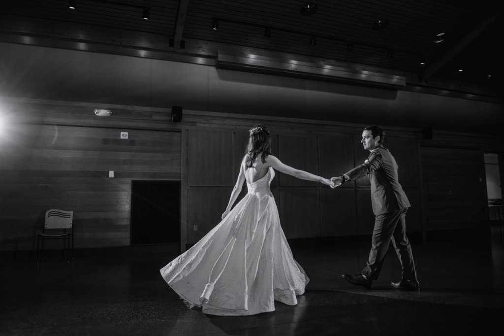 first dance in black and white silverwood park wedding mn
