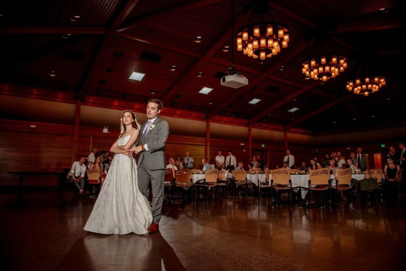 first dance under chandeliers silverwood park wedding mn