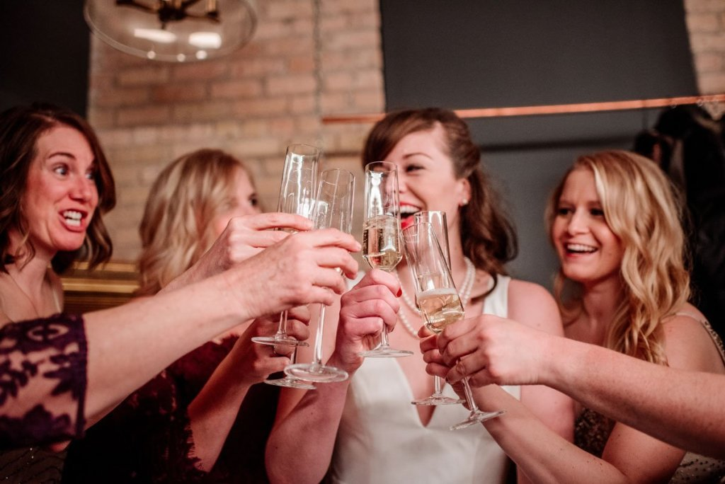 bridesmaids toasting champagne classes