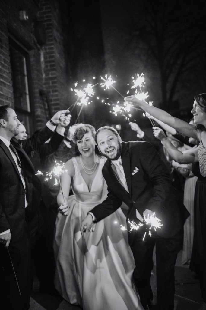 couple with sparklers at solar arts