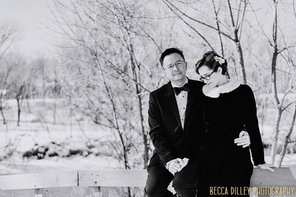 winter portraits in snow for this adventurous elopement